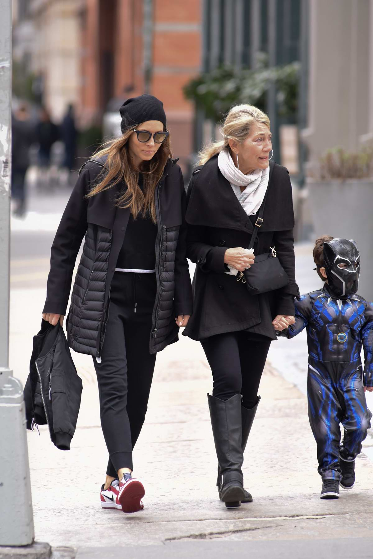 Jessica Biel sports all black as she steps out with her son and mother Kimberly Biel in New York City