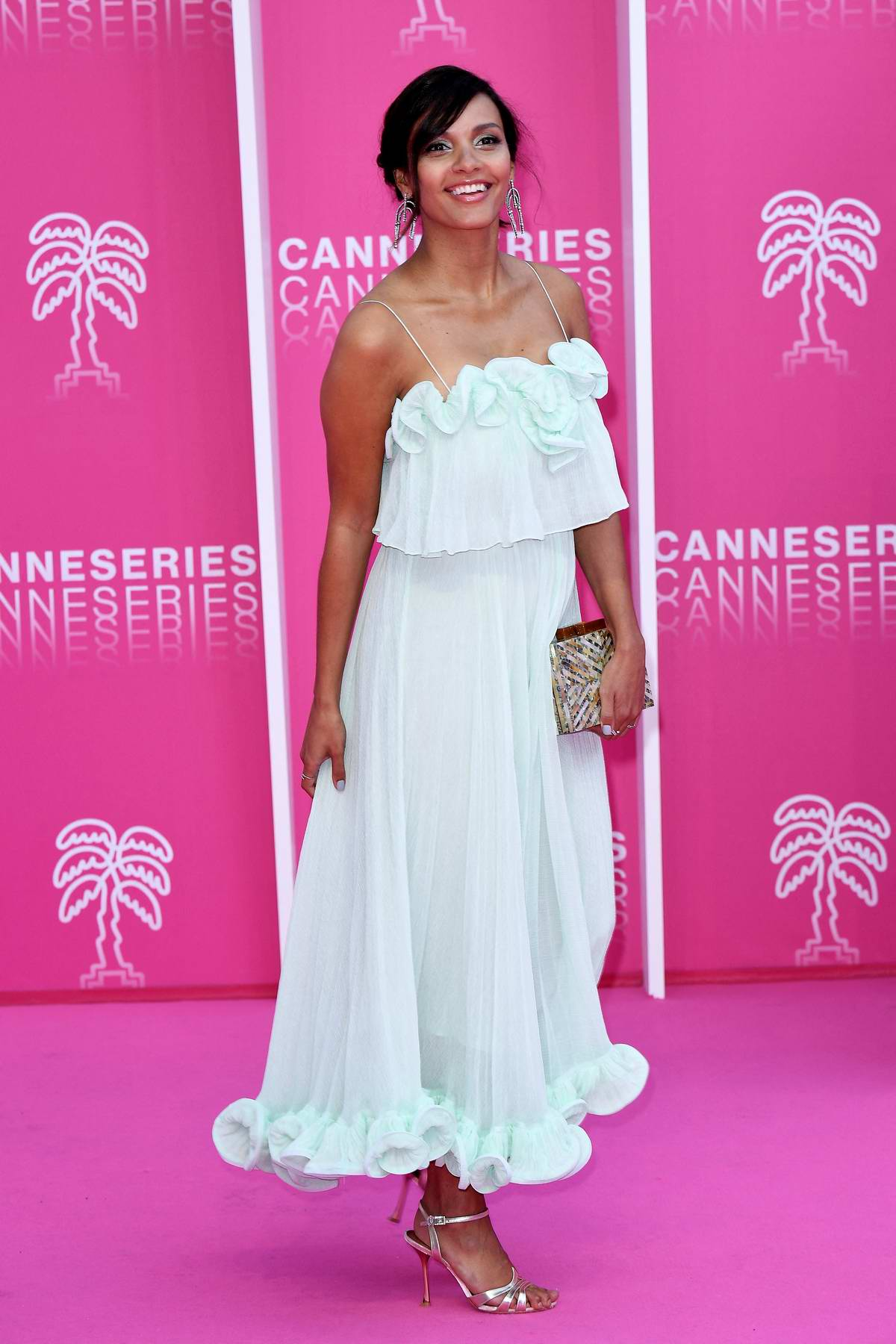 Jessica Lucas at the Pink Carpet during the 2nd Canneseries - International Series Festival - Day 5 in Cannes, France