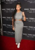Jordyn Woods dons form-fitting grey dress as she attends the release of Justin Roberts' Way Too Much in Los Angeles