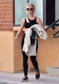 Julianne Hough rocks a black sports bra with matching leggings as she leaves the gym in Studio City, Los Angeles