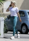 Julianne Hough shows off her perfectly toned legs in a pair of teal leggings while out to pick up lunch at Joan's On Third in Los Angeles