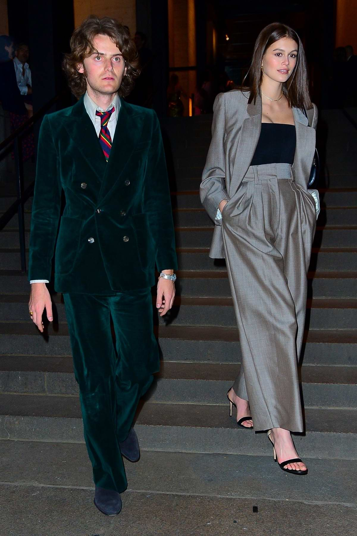 Kaia Gerber looks stunning in a Marc Jacob suit as she attends Marc Jacob's Wedding reception in New York City