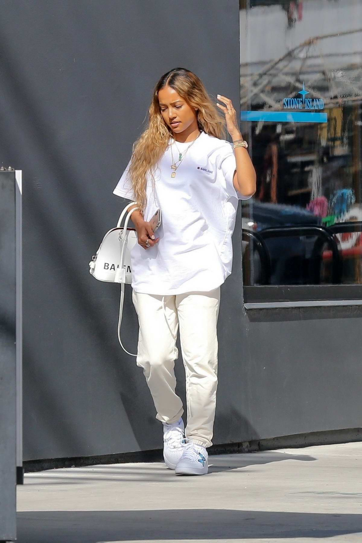 karrueche tran dons all white while out on a lunch date with