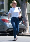 Kate Bosworth keeps it casual in white tee and jeans during a trip to Violet Grey Cosmetics in West Hollywood, Los Angeles