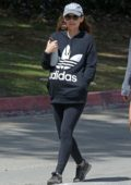 Kate Mara steps out for a walk in black Adidas sweatshirt and leggings in Los Angeles