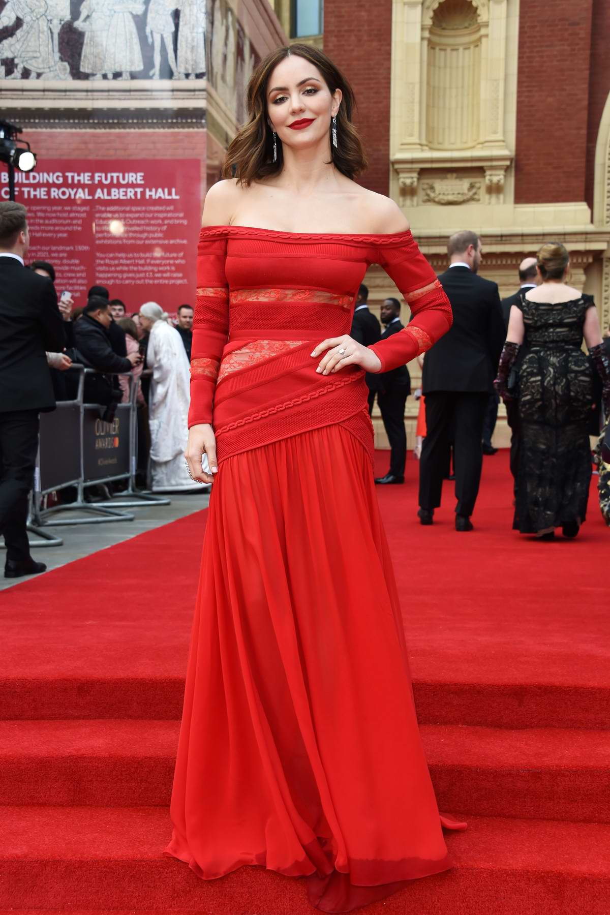 Katharine McPhee attends the 2019 Laurence Olivier Awards in London, UK