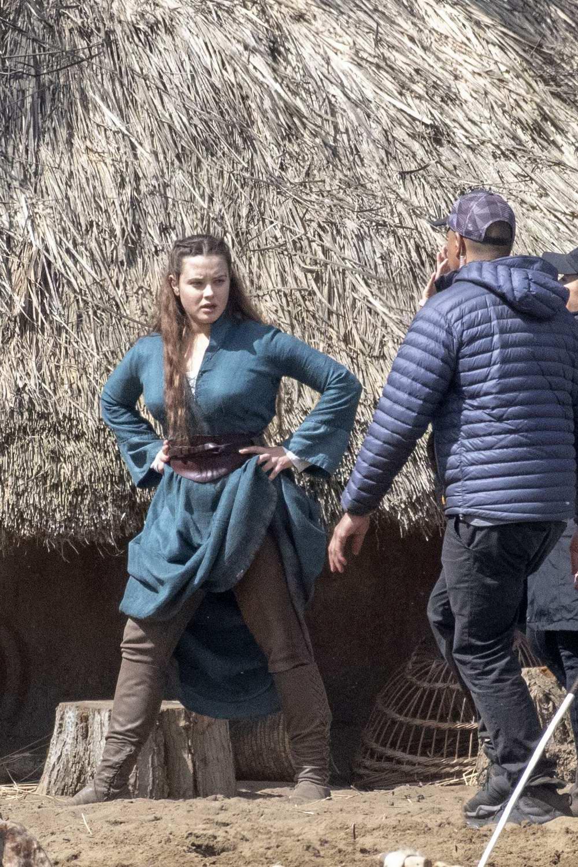 Katherine Langford Seen While Filming Upcoming Netflix