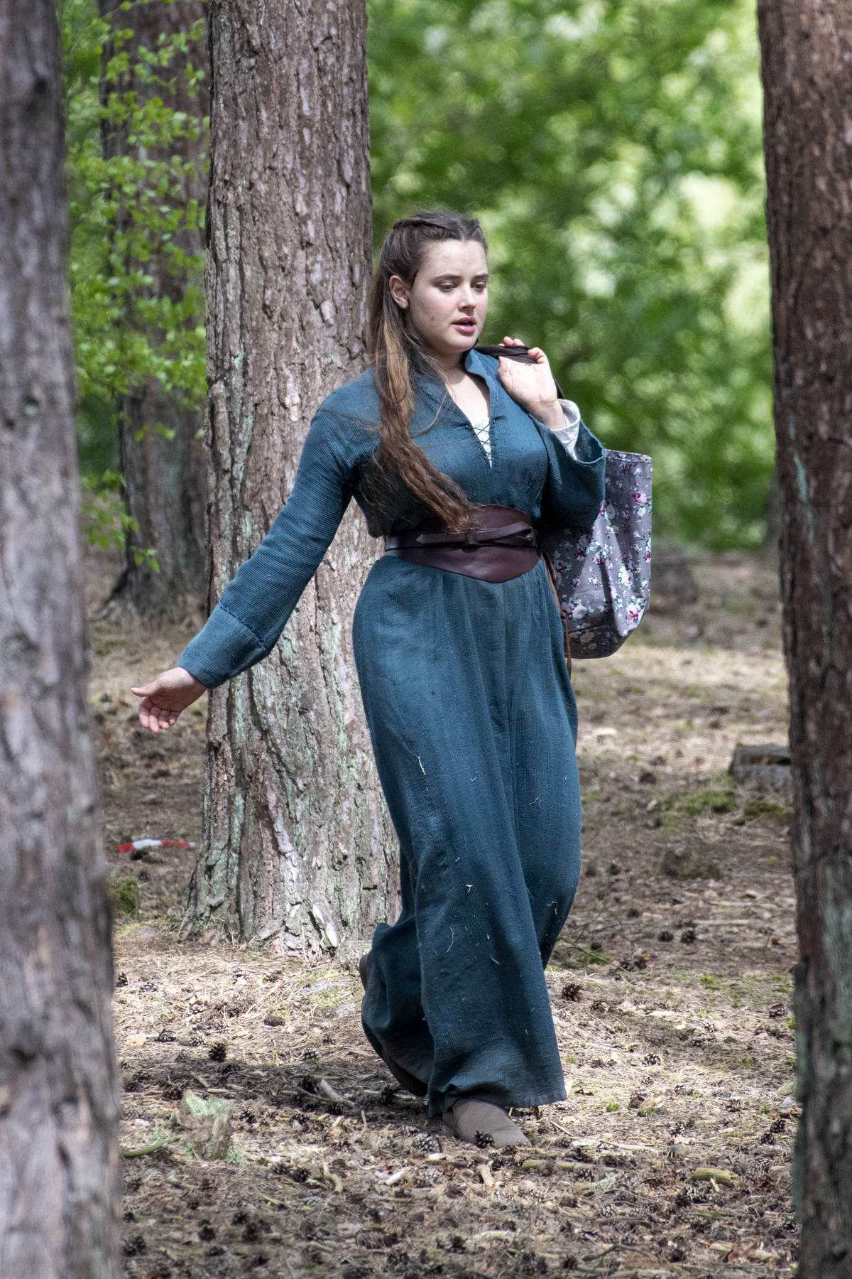Katherine Langford seen while filming upcoming Netflix Series 'Cursed' in Frensham, UK