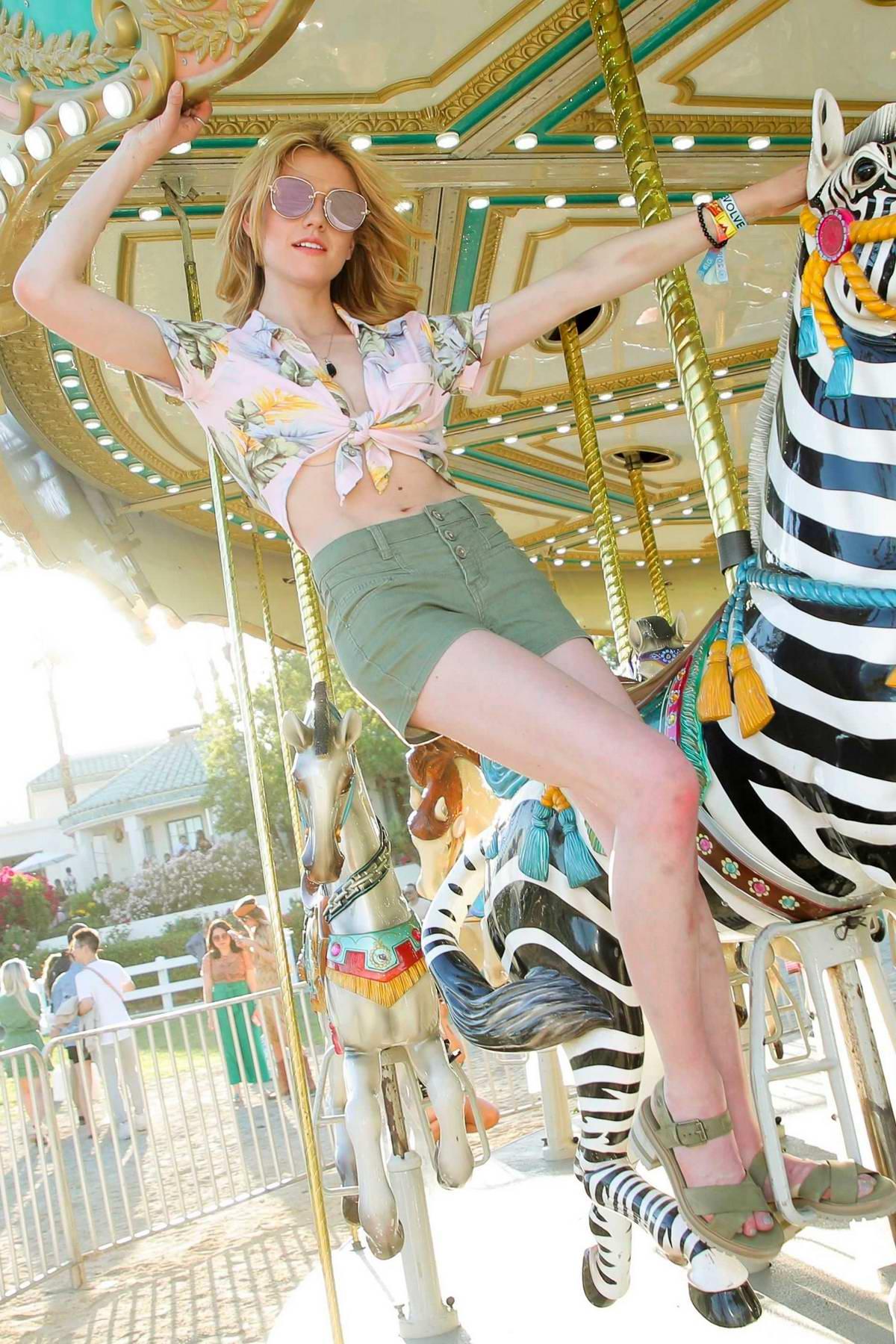 Katherine McNamara attends the Revolve Festival at Coachella in Indio, California