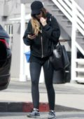 Katherine Schwarzenegger spotted in a black hoodie and leggings as she leaves the gym in Los Angeles