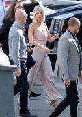 Katy Perry wears an all pink ensemble as she arrives at the American Idol live show in Los Angeles