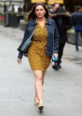 Kelly Brook stuns in an animal print mini dress as she heads to Global Radio studios in London, UK