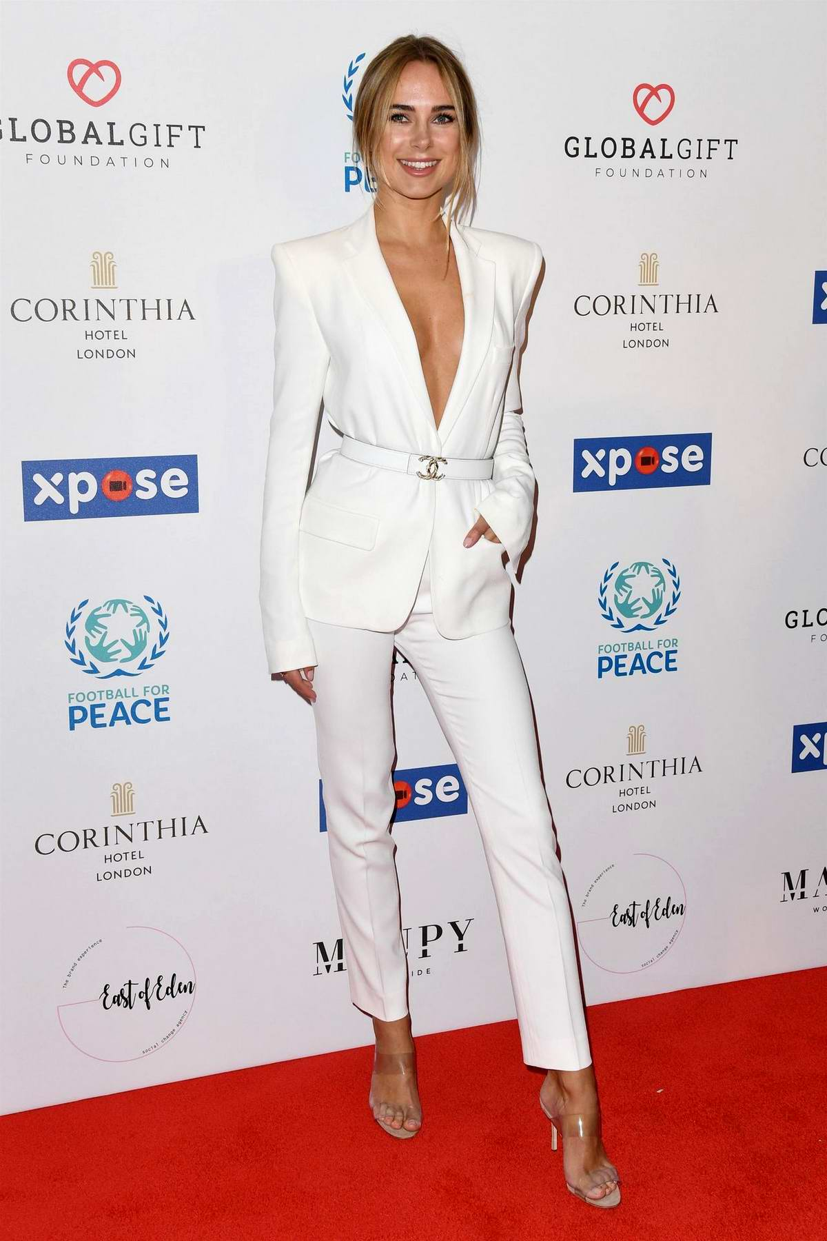 Kimberley Garner attends the Football for Peace initiative dinner by Global Gift Foundation in London, UK