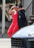 Kylie Jenner is all smiles as she leaves after lunch at Fresh Corn Grill In West Hollywood, Los Angeles