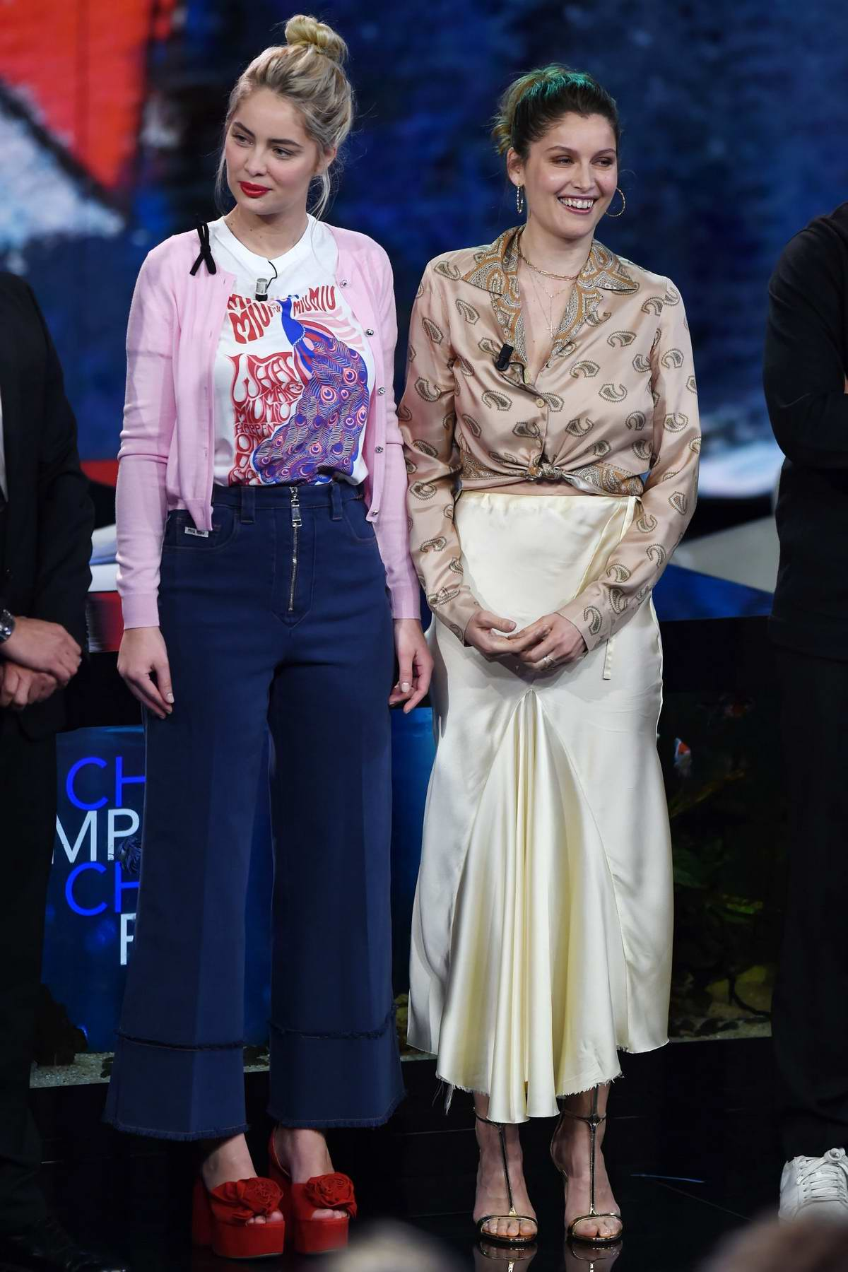 Laetitia Casta and Marie-Ange Casta at the Che Tempo Che Fa TV Show in Milan, Italy