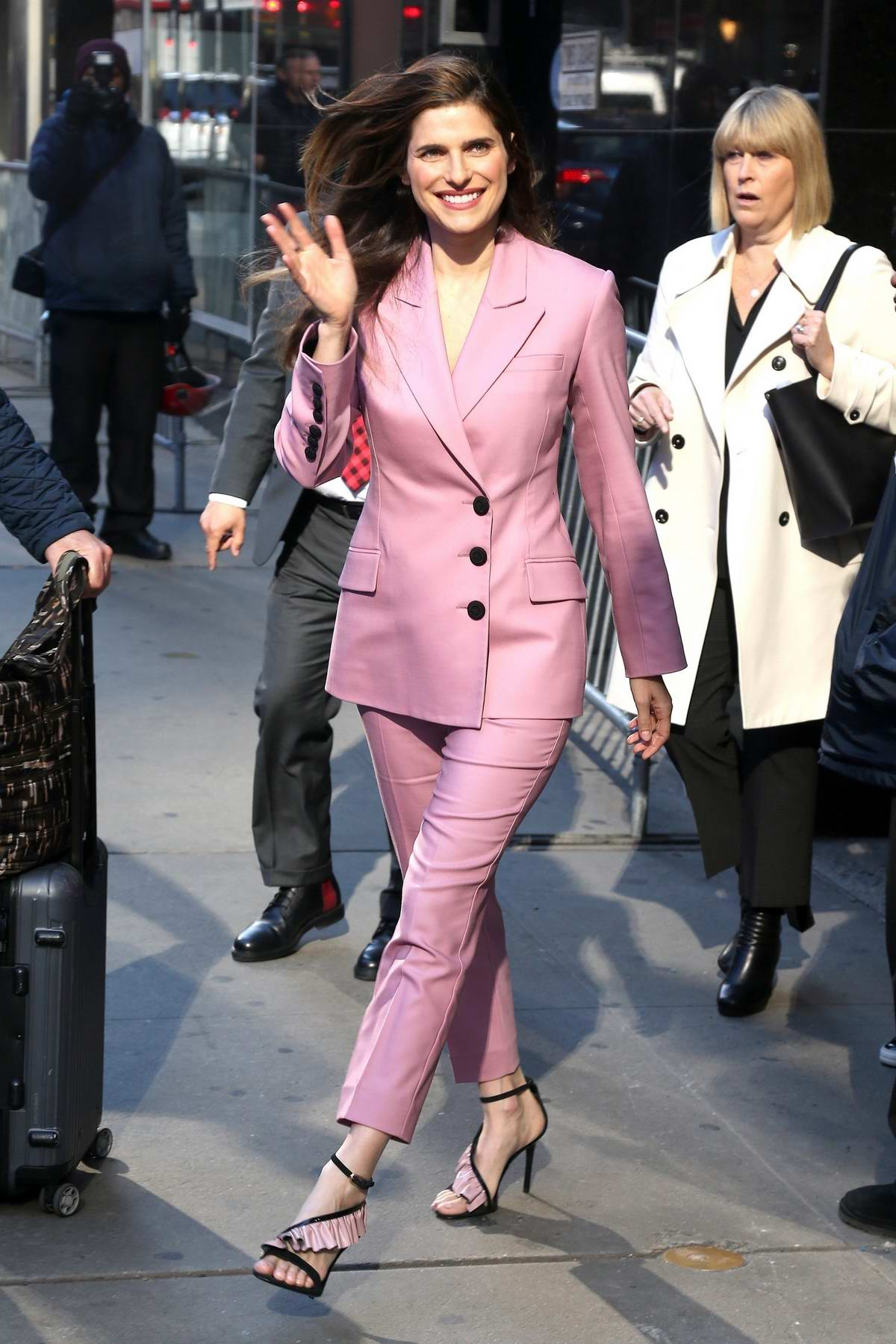 Lake Bell sports a pink pantsuit while visiting at Good Morning America in New York City