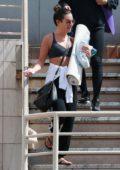 Lea Michele spotted in a sports bra and sweatpants as she leaves a yoga studio in Santa Monica, California