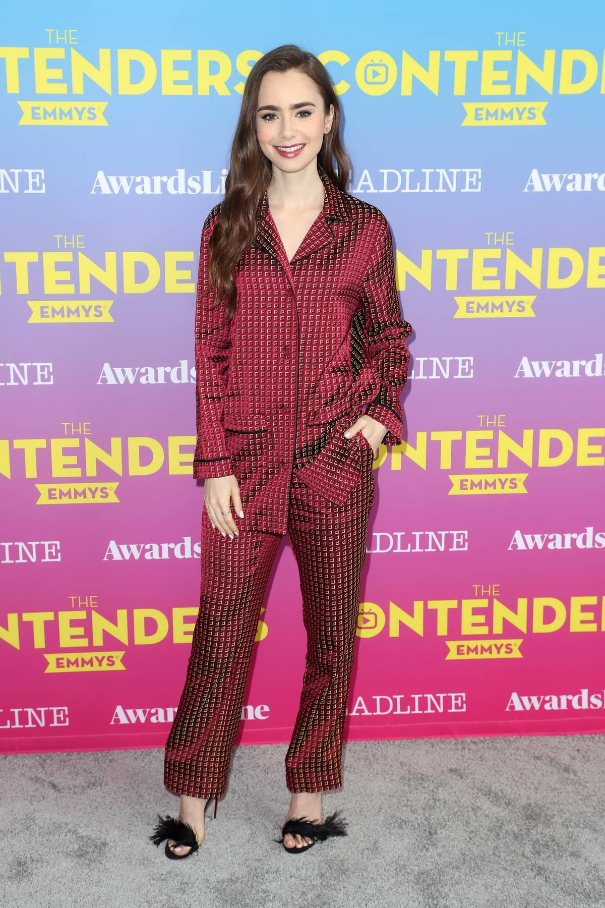 Lily Collins attends Deadline Contenders Emmy Event at Paramount Theatre in Los Angeles