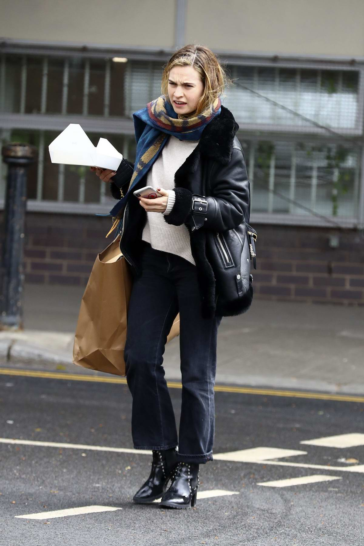 Lily James spotted arriving at a studio in West London, UK