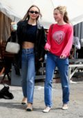 Lily-Rose Depp shows off her chiselled abs in a crop top while out for coffee with a friend in West Hollywood, Los Angeles