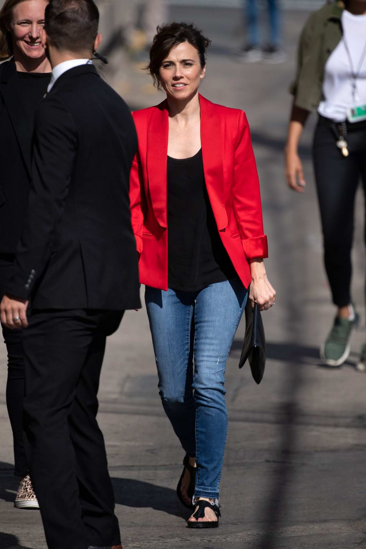 Linda Cardellini waves for the camera as she visits Jimmy Kimmel Live! in Hollywood, California