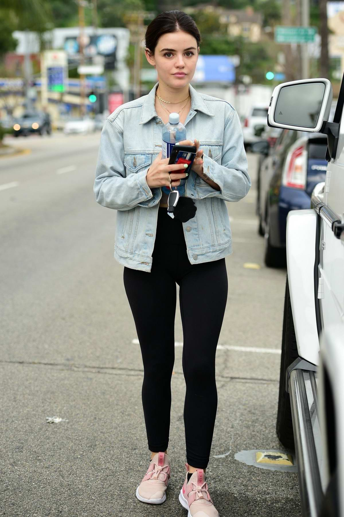 8543528b81d6a Lucy Hale leaves after a workout session wearing a denim jacket and leggings  in Los Angeles
