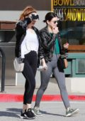 Lucy Hale seen leaving the gym in a black leather jacket and grey leggings in Studio City, Los Angeles