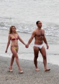 Ludivine Sagnier spotted in a bikini while filming 'The New Pope' with Jude Law on the beach in Venice