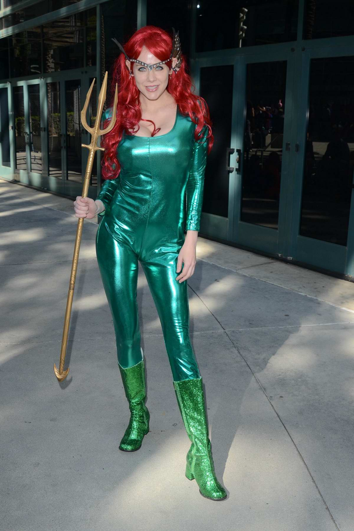 Maitland Ward spotted in her 'Mera' costume during WonderCon 2019, Day 3 in Anaheim, California