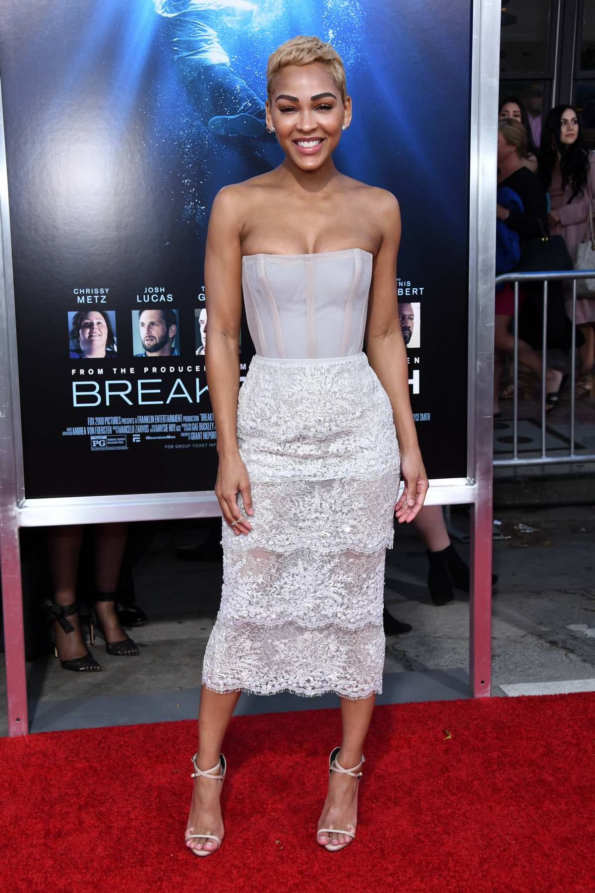 Meagan Good attends the premiere of 'Breakthrough' at Westwood Regency Theater in Los Angeles