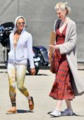 Michelle Rodriguez and Elizabeth Debicki shops for fresh produce at the farmer's market in Los Angeles