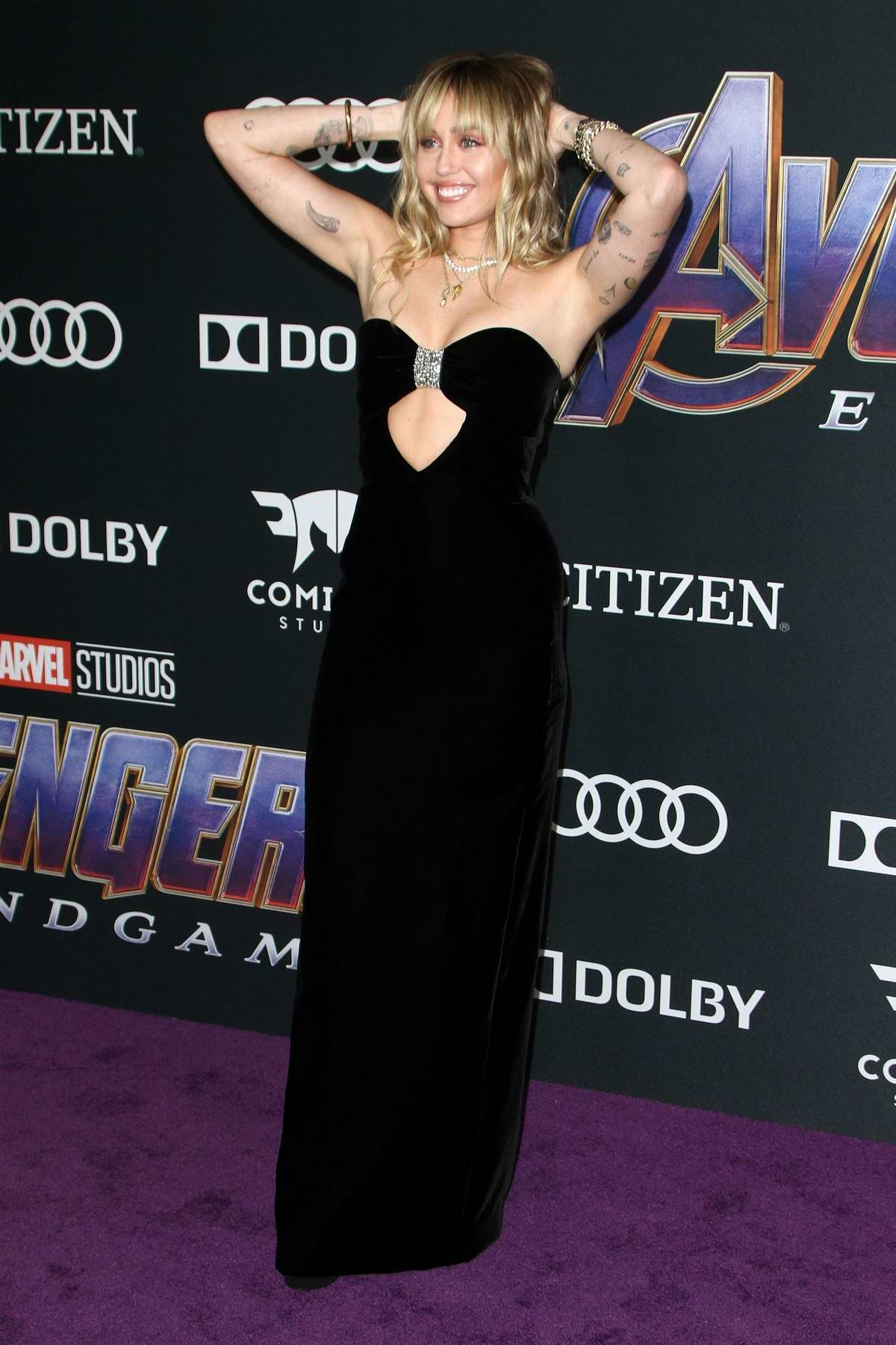 Miley Cyrus attends the World Premiere of 'Avengers: Endgame' at the LA Convention Center in Los Angeles