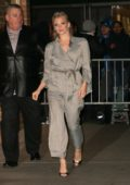 Natalie Dormer looks chic in a checkered pantsuit as she arrives at Marea restaurant in New York City