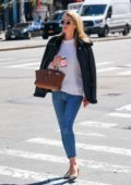 Nicky Hilton looks stylish in a black jacket, white sweater and skinny jeans while out for a stroll in New York City