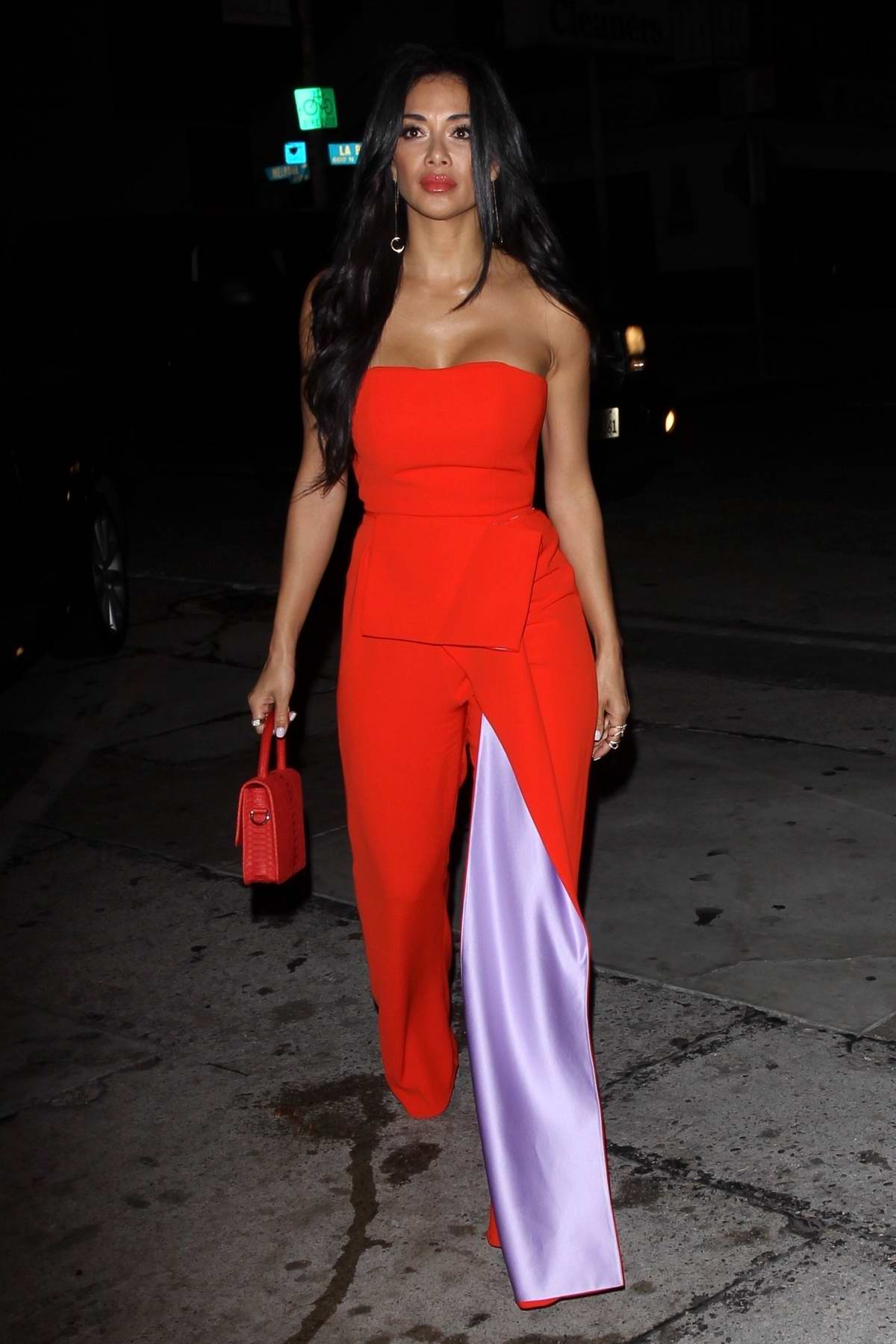 Nicole Scherzinger stuns in an all red ensemble during a night out at Craig's in West Hollywood, Los Angeles