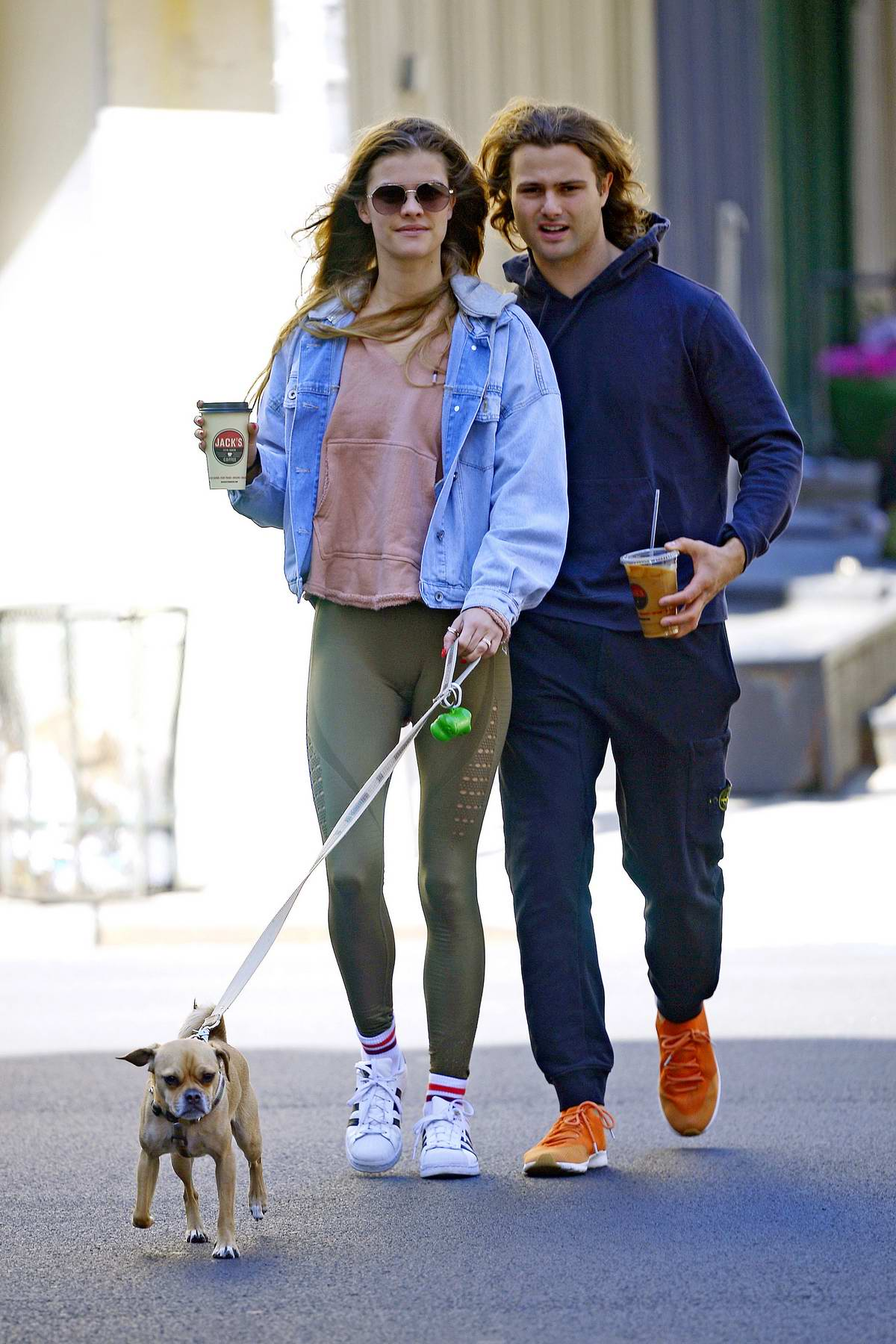 Nina Agdal and Jack Brinkley Cook walk their dog while on a coffee run in New York City
