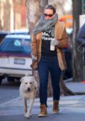 Olivia Wilde takes her dog to a local dog park in Brooklyn, New York City