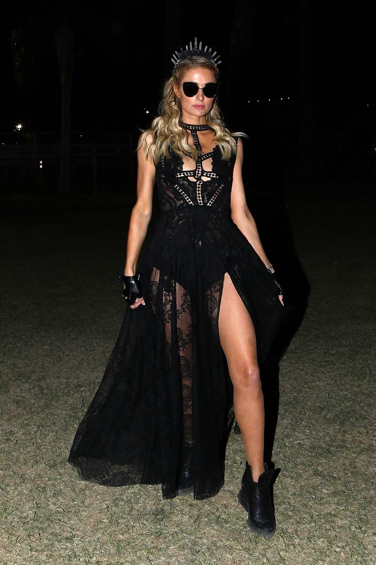 Paris Hilton opts for all black on night 3 of Coachella Music Festival in Indio, California