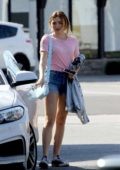 Peyton Roi List wears pink top and denim shorts to lunch at Joan's On Third in Studio City, Los Angeles