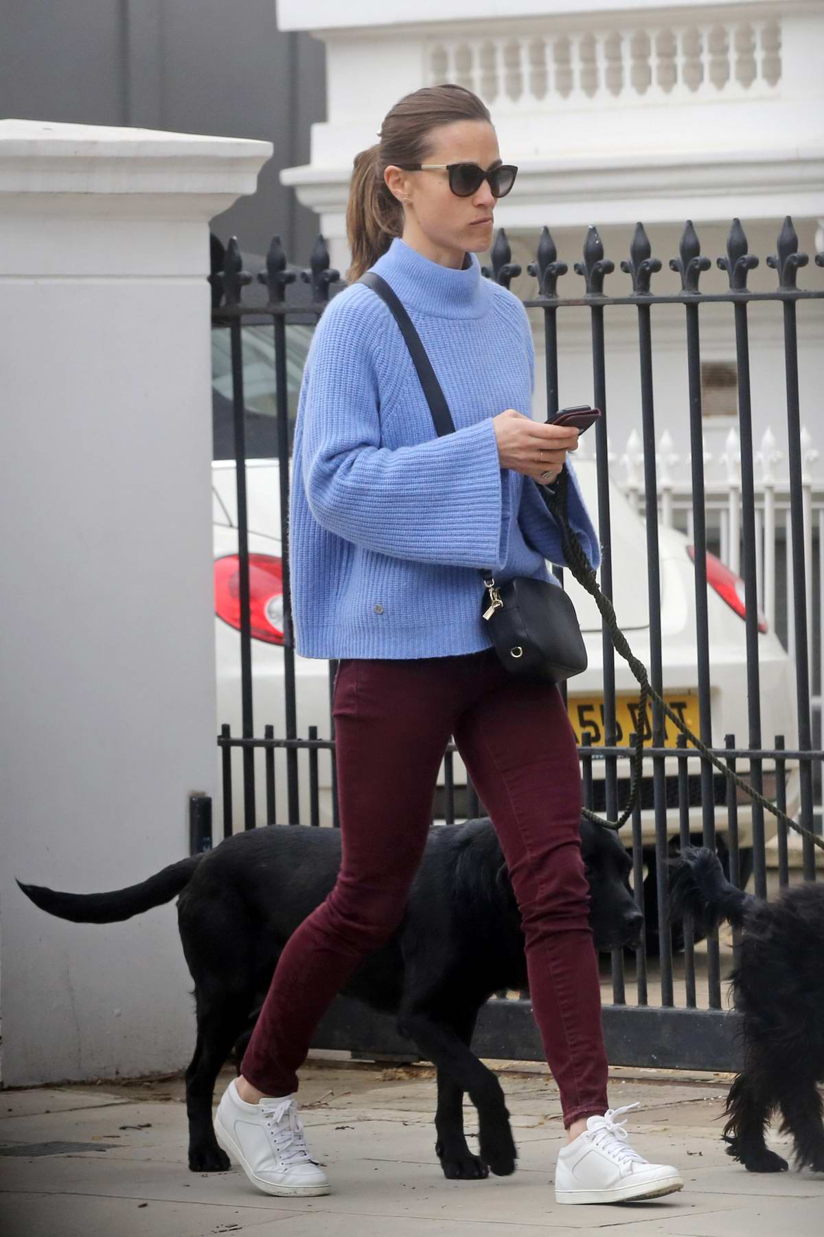 Pippa Middleton takes her dogs for a walk in London, UK