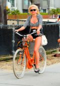 Pixie Lott enjoys a bike ride along the Venice Beach, California