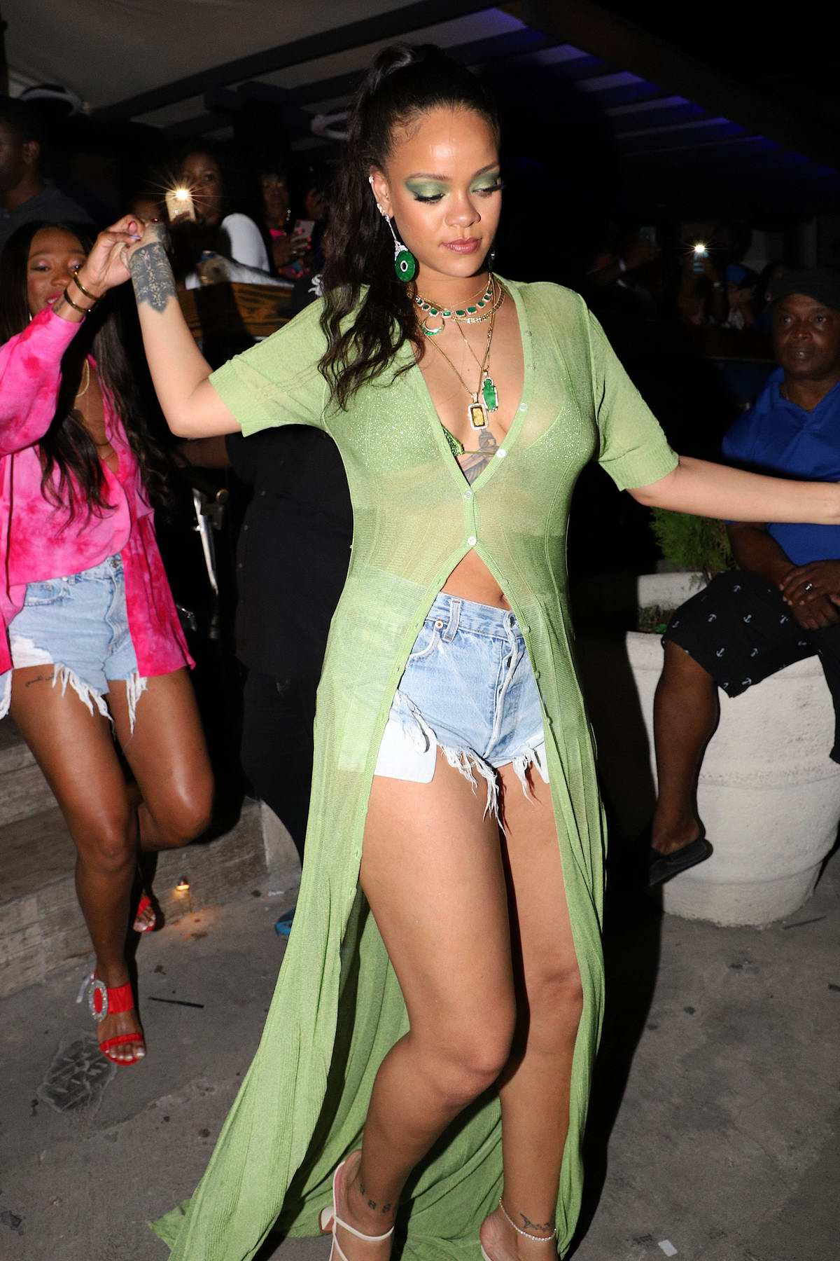 Rihanna arrives at her brother Rorrey's birthday bash at Jamestown Bar in Bridgetown, Barbados