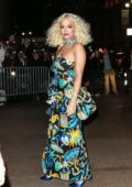 Rita Ora looks striking in a colorful dress as she arrives at Marc Jacobs Wedding reception In New York City