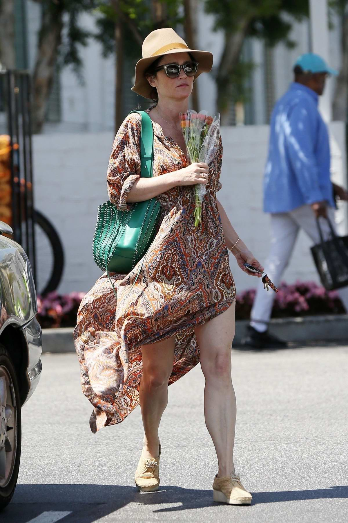Robin Tunney spotted in a flowing maxi dress while out and about in Los Angeles