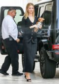 Rosie Huntington-Whiteley looks stunning in a black ensemble as she heads to a meeting in Beverly Hills, Los Angeles