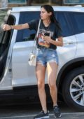 Sara Sampaio sports a pair of denim shorts with a black tee while out in West Hollywood, Los Angeles
