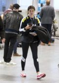 Sara Sampaio sports Puma activewear as she makes her way through the airport terminal in Montreal, Canada