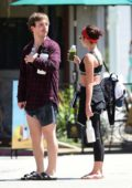 Sarah Hyland catches up with a friend after a yoga session in Los Angeles