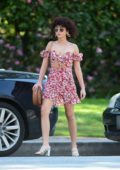 Sarah Hyland steps out in a floral print mini dress in Los Angeles