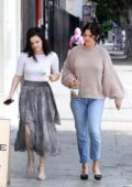 Selena Gomez looks lovely in a beige sweater and jeans as she attends Easter Sunday Church in Los Angeles